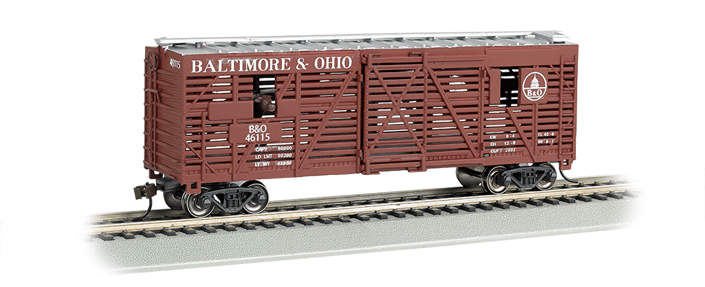 Baltimore & Ohio - 40ft Animated Stock Car w/ Cows (HO Scale)
